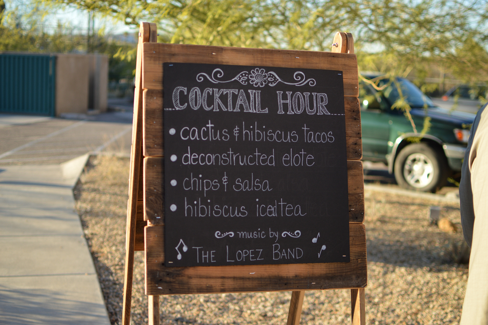 The menu for cocktail hour at a Conference Center wedding
