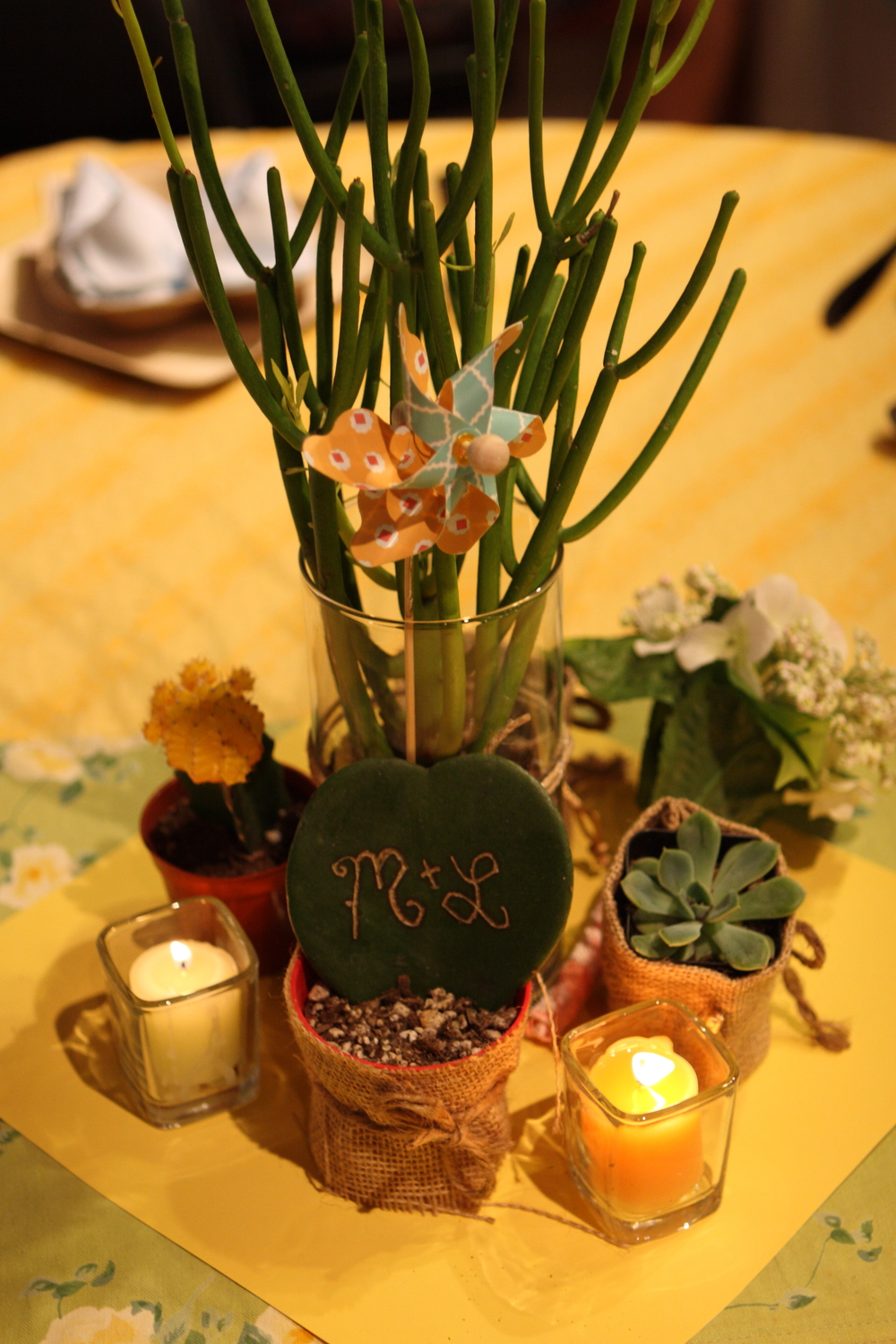 Centerpieces made by a bride and groom for their wedding reception in The Learning Center, one of our event spaces