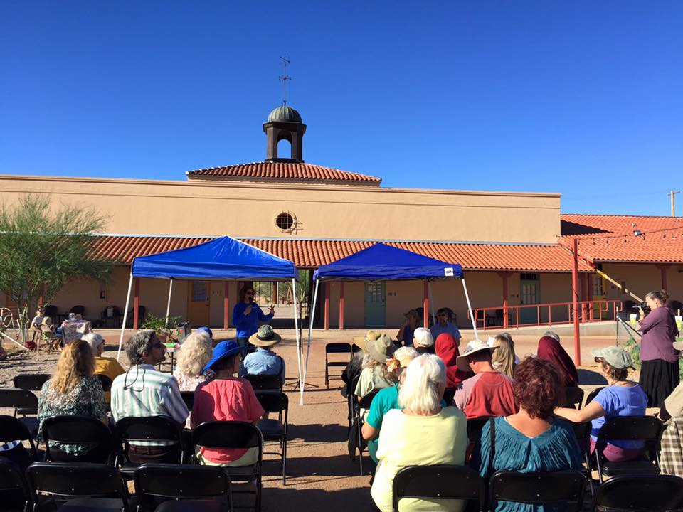 An outdoor lecture in the courtyard during the 2015 Ajo Pomegranate Festival