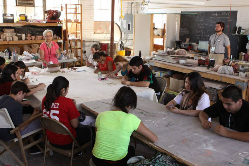 A ceramics class in our on-site clay studio