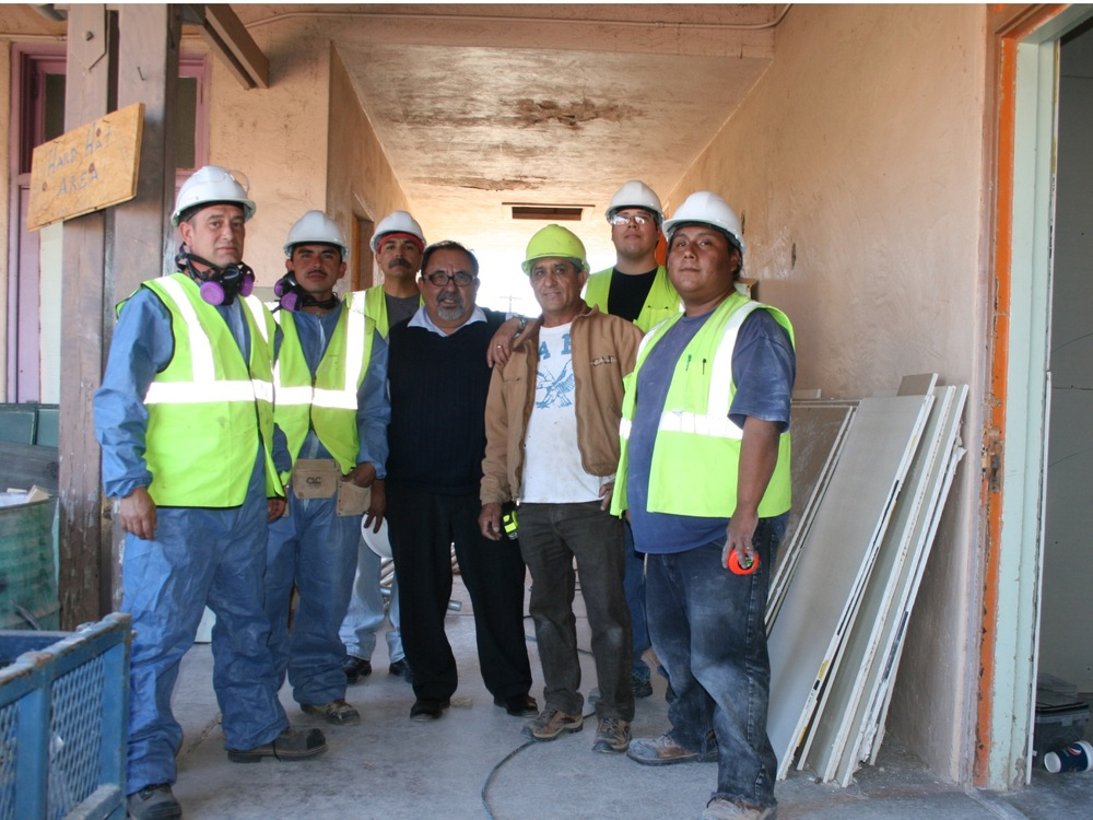 A crew of Journeyman Apprentices with US Representative Raul Grijalva.