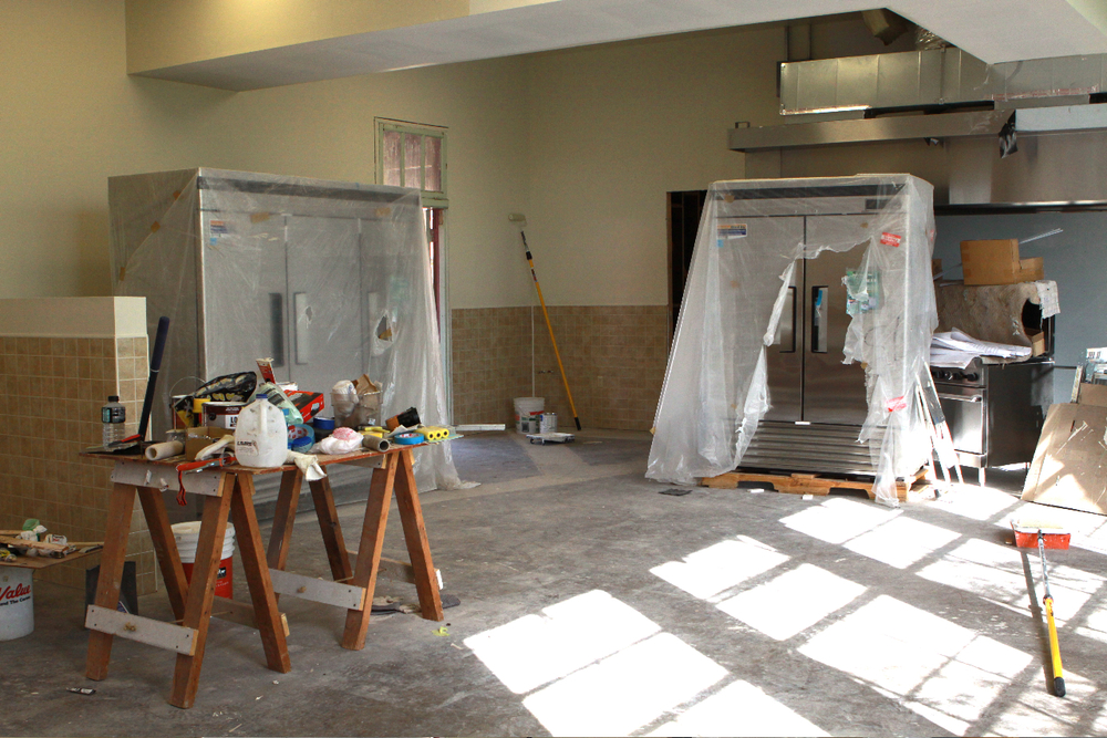 The commercial kitchen, partway through the renovations.
