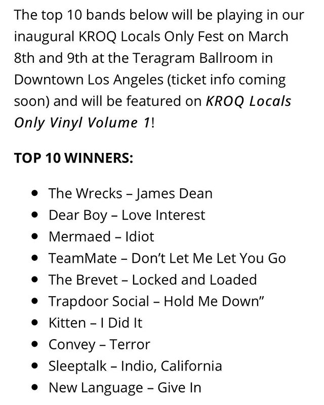 y'all literally just booked a gig for us. 🙏thanks for that. & for voting us to the top of @kroq's locals only vinyl press comp. see you on March 9th at Teragram Ballroom. 🤖