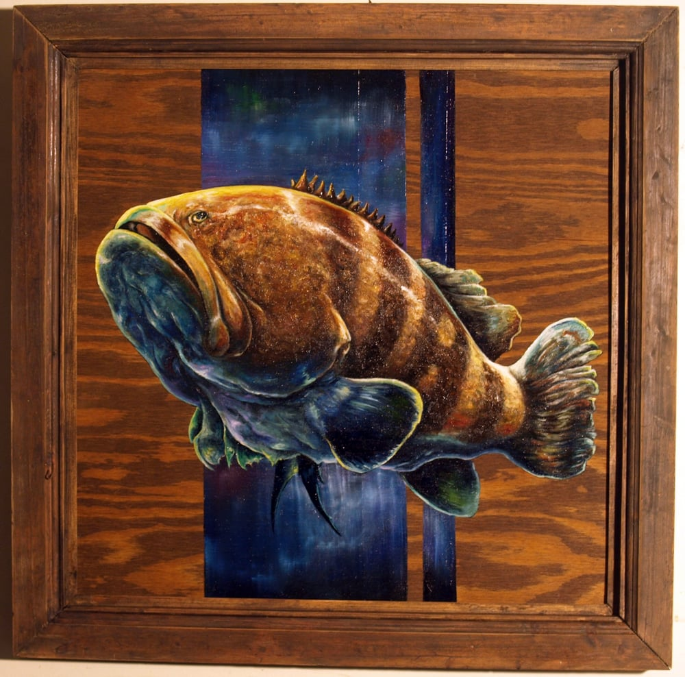 """Giant Grouper"" - oil on wood + handcrafted frame - $300 USD"