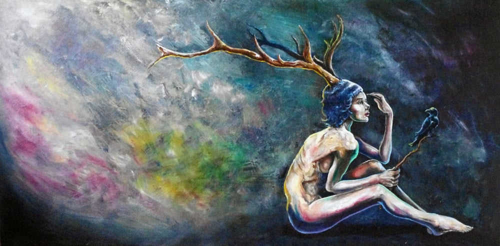 """Antler Nude"" - oil on canvas - 24"" x 48"" - $250 USD"