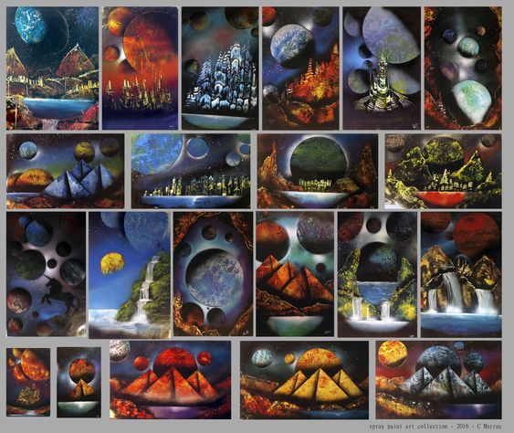 "original spray paint art                                                                                    14x28""     $20 + S&H  *Each piece is unique but must follow certain templates (e.g. mountains/cities/pyramids).  I have a rotating selection of pieces at any given time and can create a specified color scheme upon request."