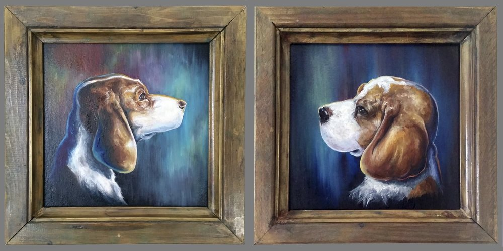 "12x12"" Pet Portrait w/ Handcrafted Frame"