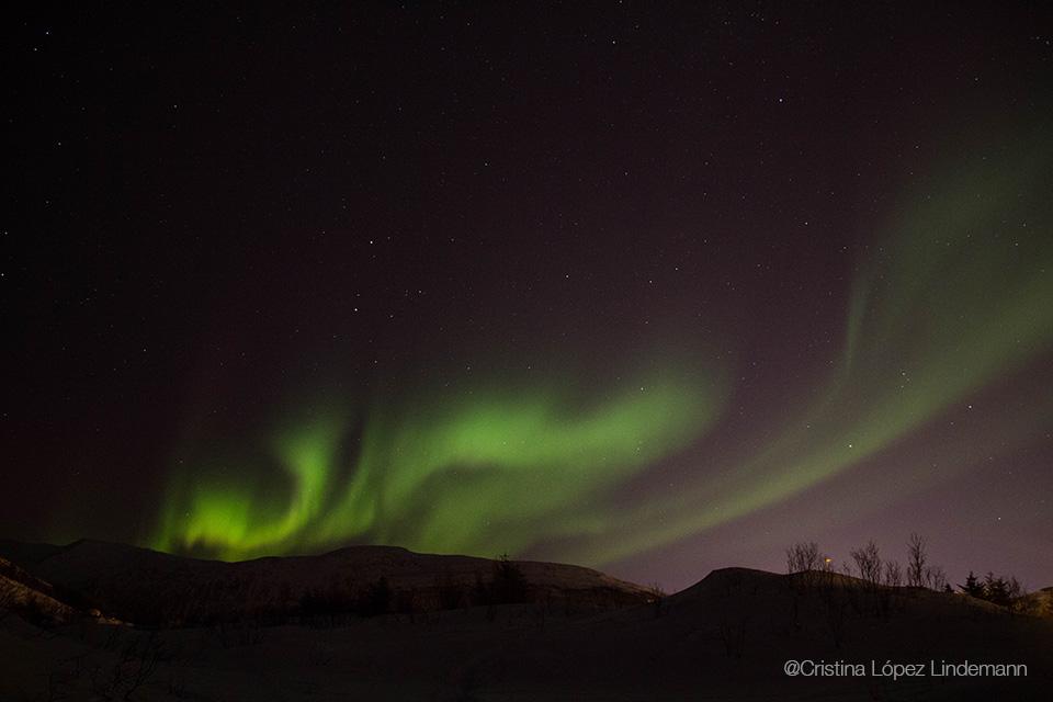 El primer día la aurora boreal apareció tímida intentando camuflarse con una nube y mucho más temprano de lo que esperabamos