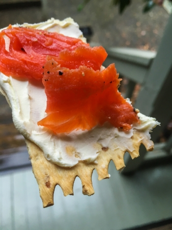 Delish!  A little mascarpone and gravlax on crackers