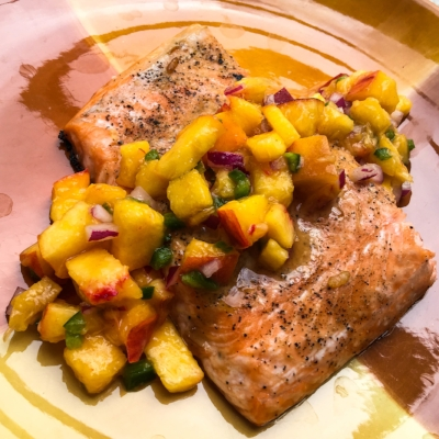 Honey Glazed Salmon with Peach Salsa