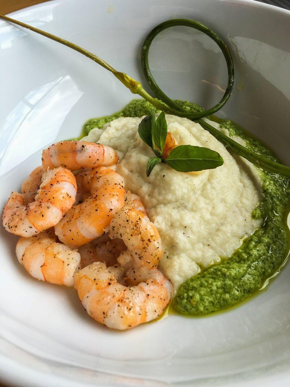 Pesto Shrimp with Creamy Cauliflower