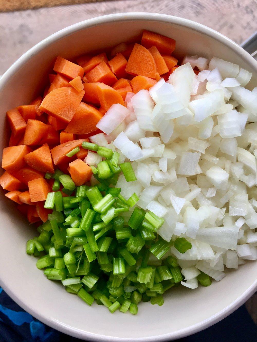 Mirepoix (carrot, celery & carrot)