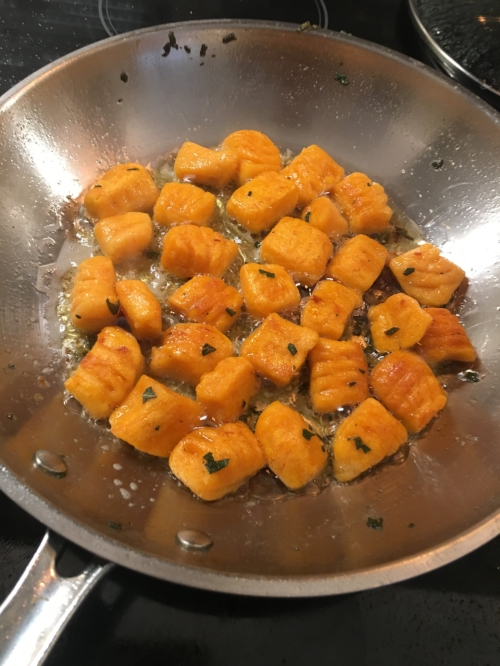 Boil then pan fry in batches to create a delightful texture to your gnocchi.