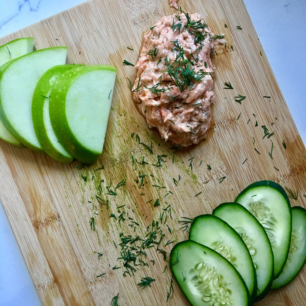 Dill Salmon Spread with Apple & Cucumber Slices -