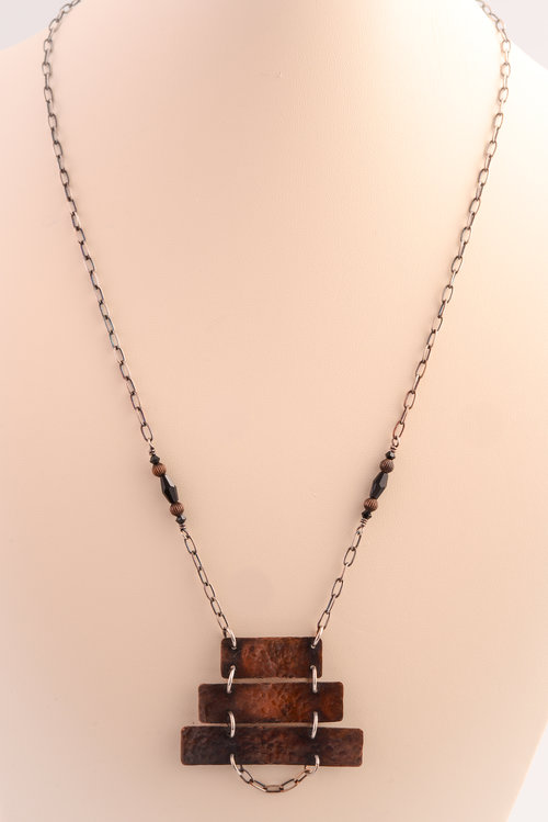 the template 3 tiered antiqued stamped copper necklace jewelry by