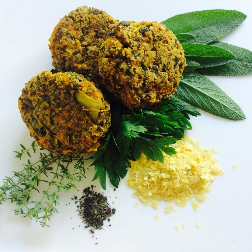 Kelp Croquettes      Makes 12    These savory umami packed and nutritious patties are best served warm over steamed greens.  3 tbsp Kelp Meal  1/2 cup nutritional yeast  3 tbsp finely chopped sage or 1 tbsp dried  3 tbsp chopped parsley  3 tbsp chopped thyme  1 tbsp chopped oregano  1/2 tsp sea salt & pepper   1 1/2 cup gluten free oat flour   4 tbsp flax meal + 4 tbsp water   2 tbsp apple cider vinegar   1 tbsp soy sauce or GF tamari  1 tbsp maple syrup  1 tbsp oil of choice + 1/2 cup  1 shredded carrot  1 shredded zucchini  1 finely diced portobello  2 cloves garlic, minced   Preheat oven to 350 and line a baking sheet with parchment paper. Heat 1 tbsp of oil in a sauce pan and lightly sauté carrot, zucchini, garlic, and mushroom together.  Whisk together flax, 4 tbsp water, soy sauce, vinegar, oil, and maple syrup in a small bowl. In a large mixing bowl stir together remaining dry ingredients, herbs and sautéd vegetables. Stir in wet ingredients and mix well.  Form small 1/4 cup patties and bake for 20 minutes, turning once at 10 minutes.