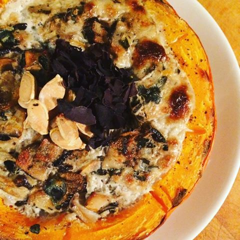 Roasted Pumpkin Bowls using Mermaid Fare's Sugar Kelp    1 small pumpkin or seasonal gourd   2 x 250mL (2 cups) coconut cream  1 tsp sea salt  1 tsp pepper + extra for seasoning  250g sliced mushrooms of choice  1 tbsp minced ginger root  2 shallots, minced  10g Sugar Kelp  1 tsp minced garlic  Start by preheating the oven to 375C and line a baking sheet with parchment paper.   Soak the sugar kelp in cool water for   10 minutes, rinse and mince into small pieces.  Cut the pumpkins in half to create small bowls. Season bowls with salt and pepper.   Mix all ingredients together in and spoon evenly into pumpkin bowls.  Bake 25-30  Bake 25 -30 minutes or until a fork pierces the pumpkin easily and the coconut cream is browned on top. Top with toasted seeds, nutritional yeast, or seaweed flakes!