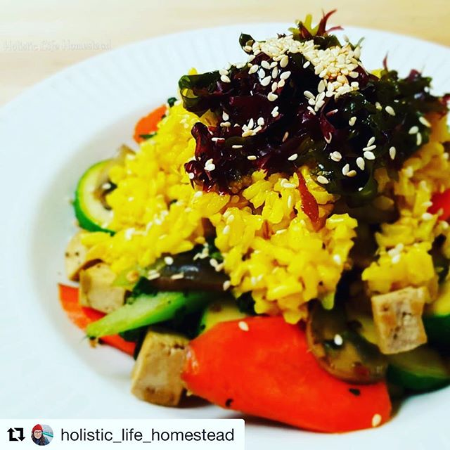 Look at this tasty meal by  @holistic_life_homestead using Hana Tsunomata seaweed 🤗 ・・・ It might look upside down, but this is how I get my portions correct. A mighty stack of stir fried veggies & tofu, topped with some turmeric brown rice, seaweed salad & toasted sesame seeds. 🥗 . . . . #healthyeating #veggies #stirfry #wok #carrot #celery #mushrooms #ginger #onion #kale #sambal #braggs #seaweed #mermaidfare @mermaidfare #sesameseeds #turmeric #brownrice #realfood #wholefood #plantbased #vegan #vegetarian #glutenfree #dairyfree #holisticnutrition #novascotia #dartmouth #wfpb #portioncontrol