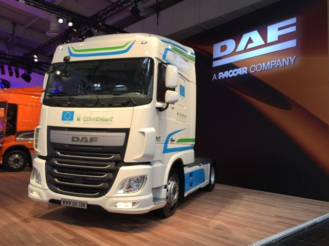 Paccar's ownership of the European truck brand DAF (shown here at the IAA Commercial Vehicle Show) led to a global engine platform that gave North America the Paccar MX engine. Photo: Deborah Lockridge