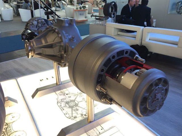 Over the past five years, as part of its M2016 strategic plan, Meritor (shown here at the IAA Commercial Vehicle Show in Germany this year) has taken a much larger role in developing and using products globally. Photo: Deborah Lockridge