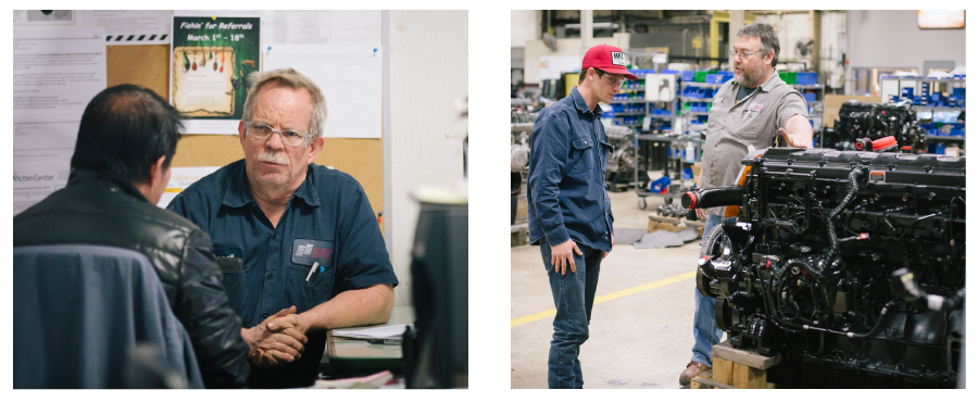 Left Photo: Maintenance Supervisor Darrell Miller, right, interviews Victor Bulik for one of the open positions. Right Photo:Austin Murray gets a tour of the facility from Michael Ward.