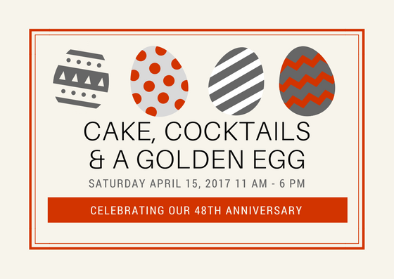 "Celebrating Our 48th Anniversary Ladies join us for a ""CJ's"" Easter egg hunt.  You just may select the ""golden egg"".  Saturday April 15, 2017 11 AM - 6 PM   
