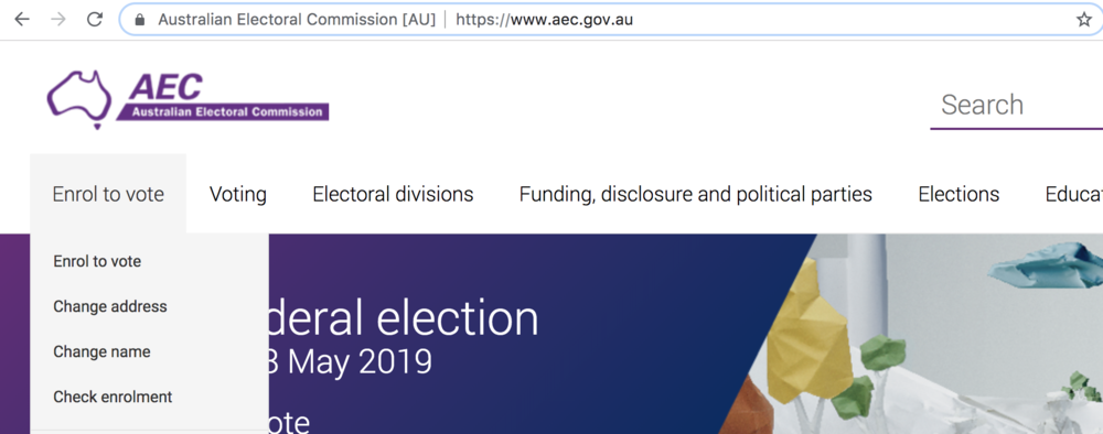 Click to visit the Australian Electoral Commission website and enrol now!