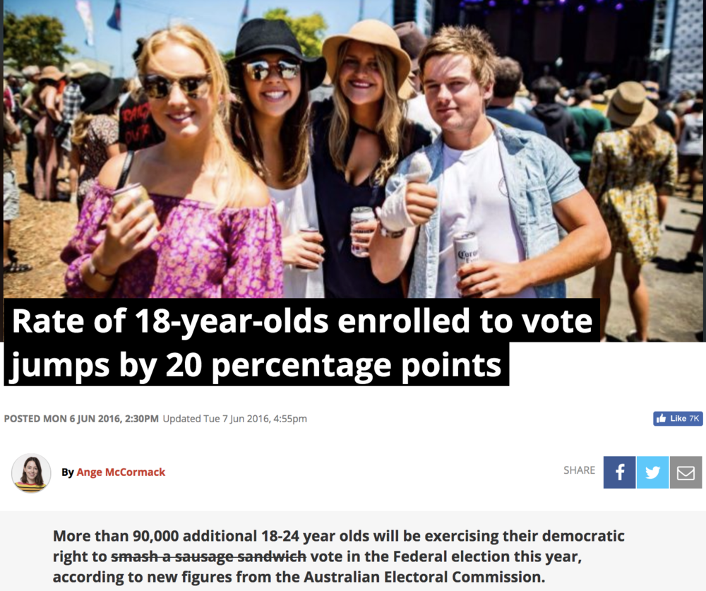 Young voters are enrolling - Enrolment rates amongst young voters is super high! But enrolment is like a good idea, it only matters if you put it into action and vote!