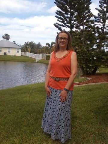 maxi skirt, orange tank