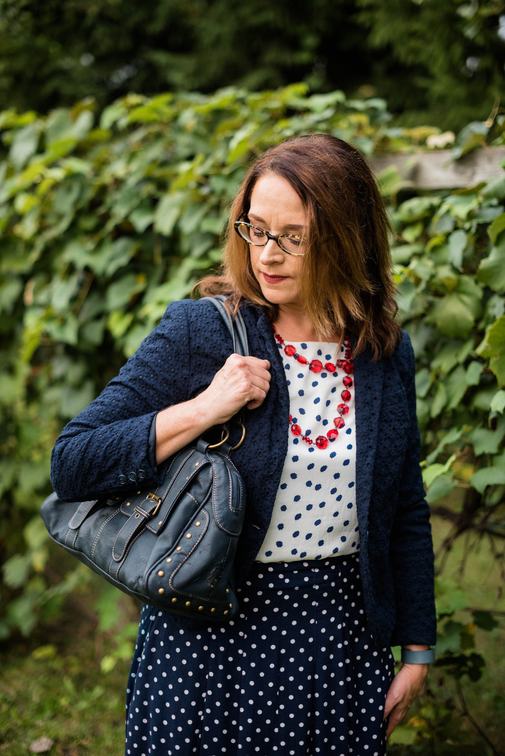 Polkadot navy blue outfit