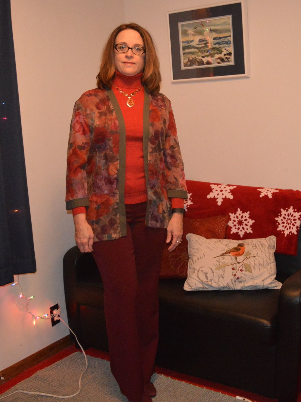 red and burgundy outfit
