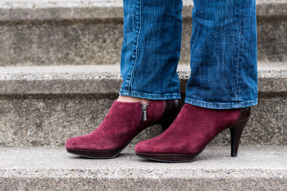 winter outfit - casual day - maroon suede booties