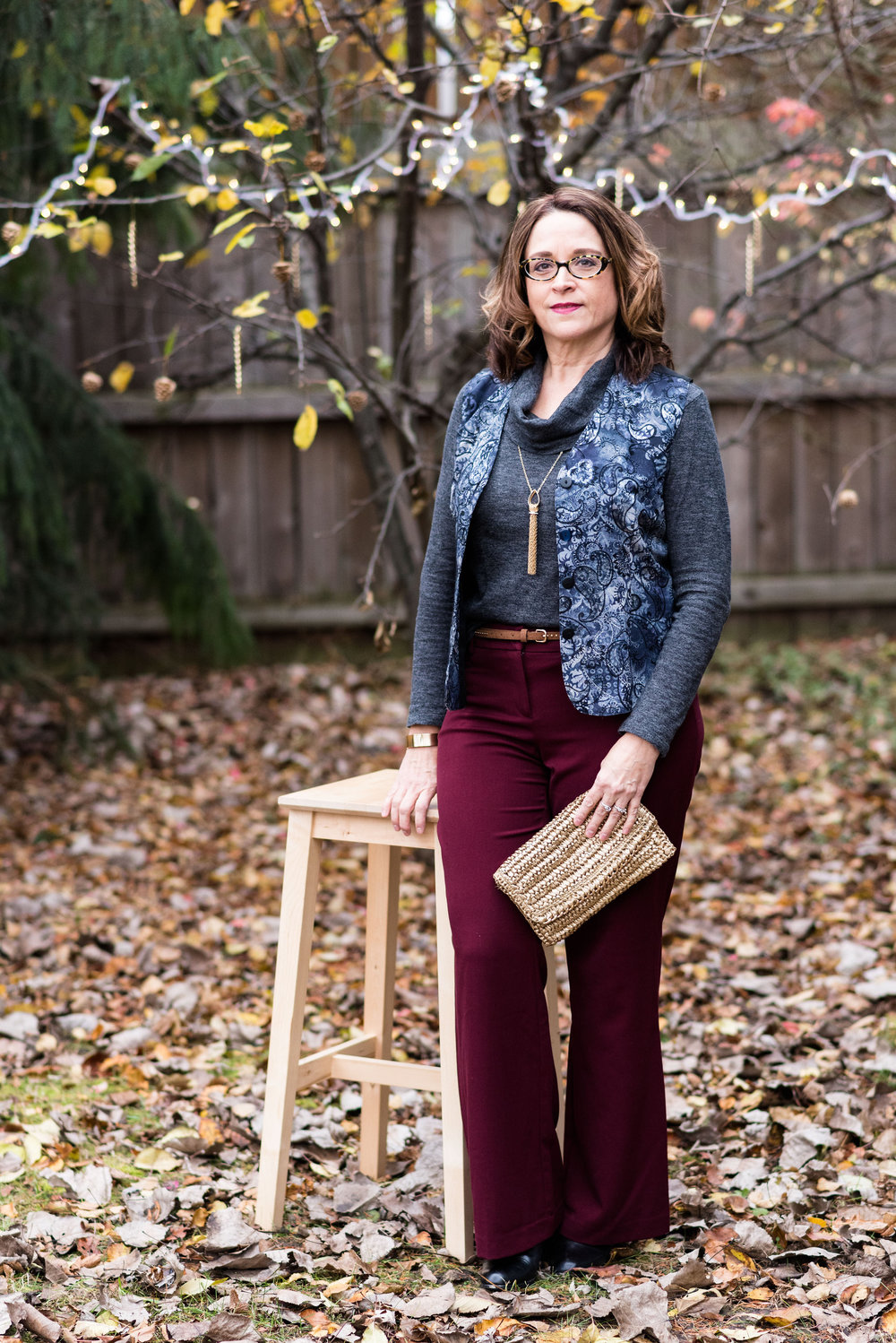 winter outfit - night look - wine dress pants