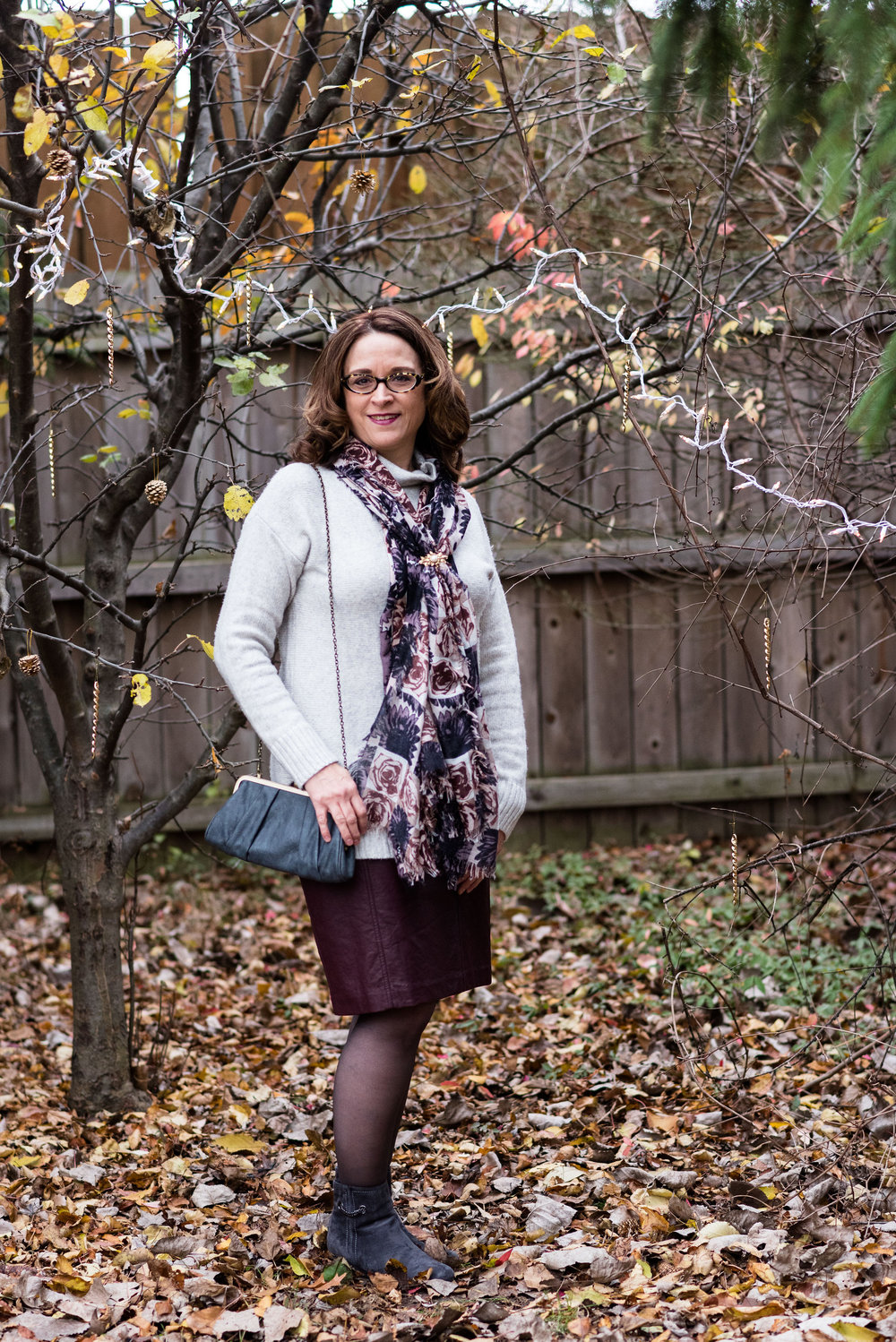 winter outfit - burgundy skirt day look