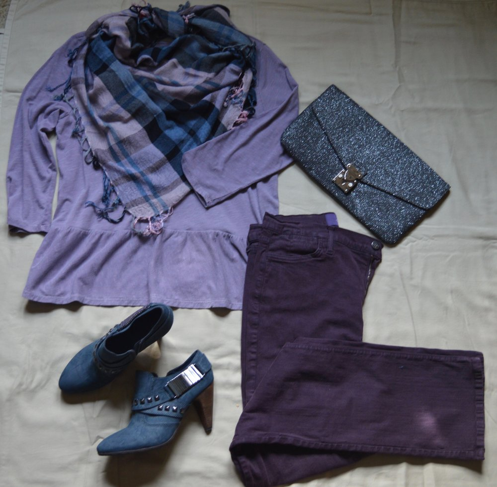 Flat lay - plaid scarf, purple peplum tee, purple jeans, blue heeled booties