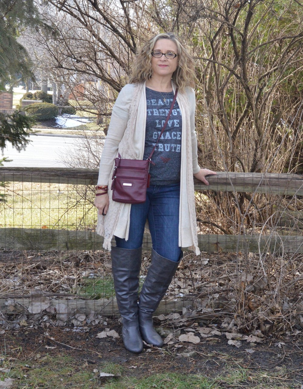 Layering love - wearing a vest over a cardigan
