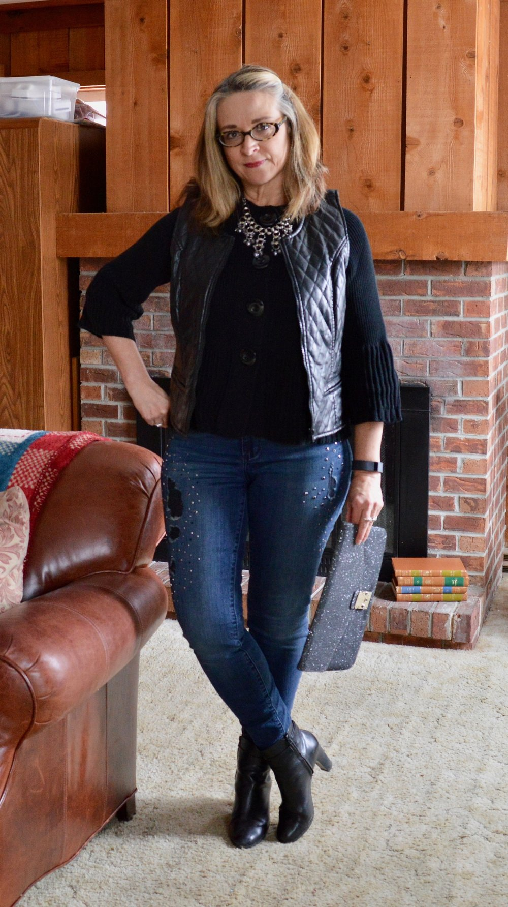 Layering love - wearing a vest over a cardi - short