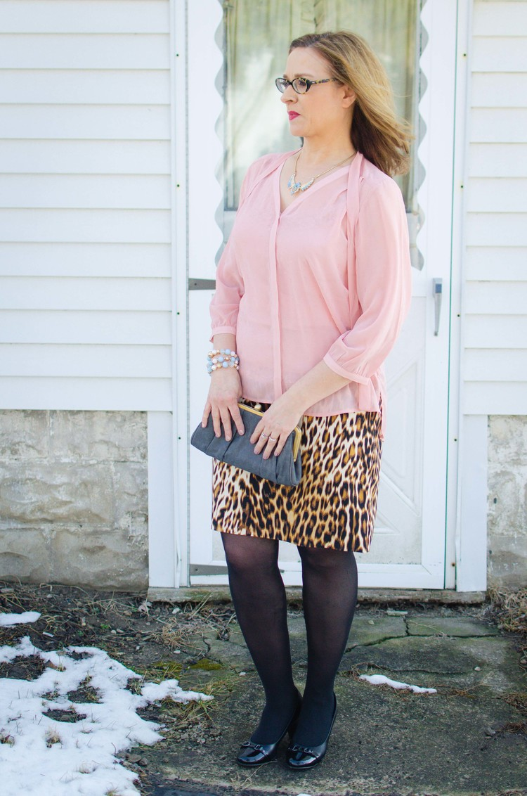 Leopard print skirt and pink top