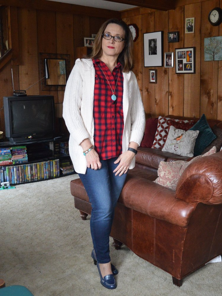 Red flannel shirt and skinny jeans
