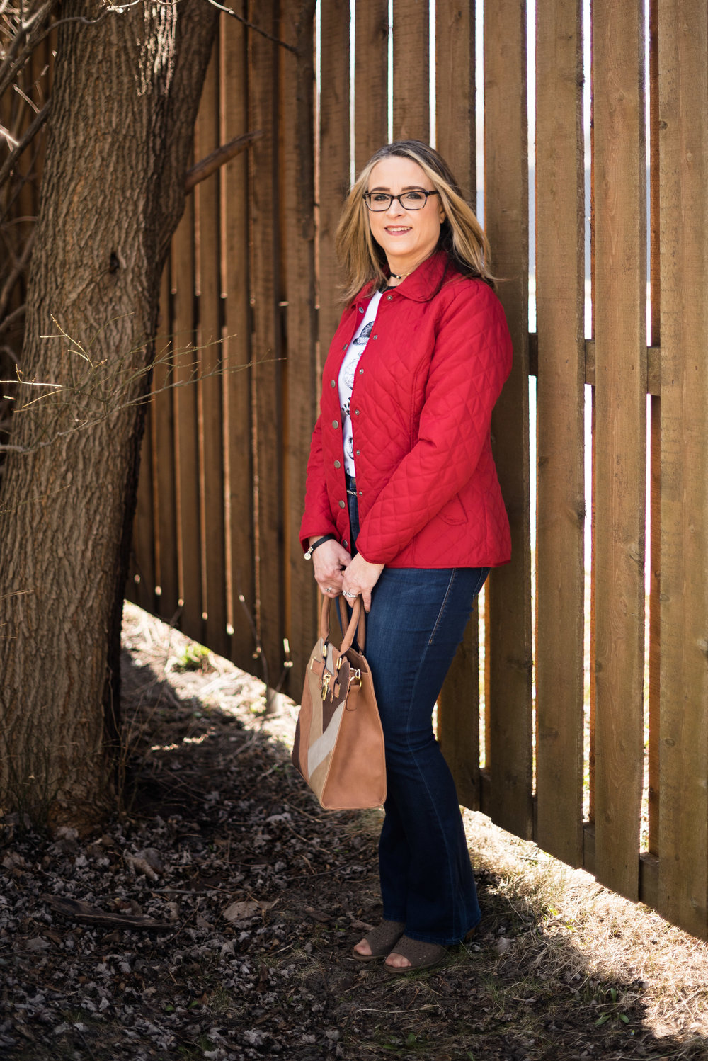 Spring transitions - Red Jacket outfit