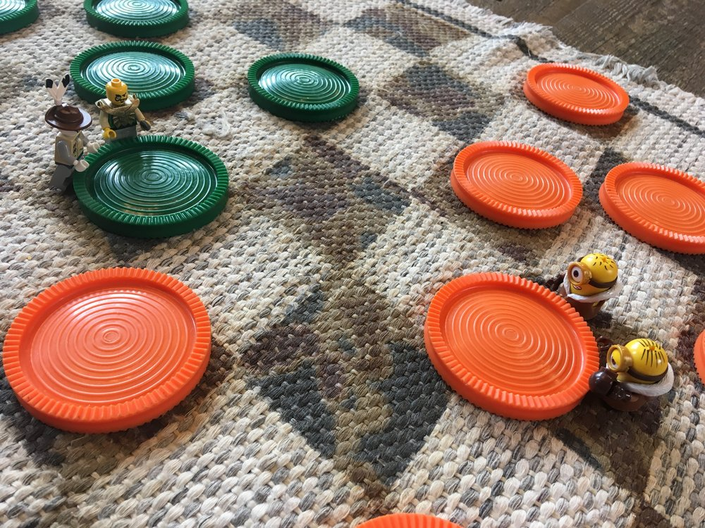Legos playing checkers