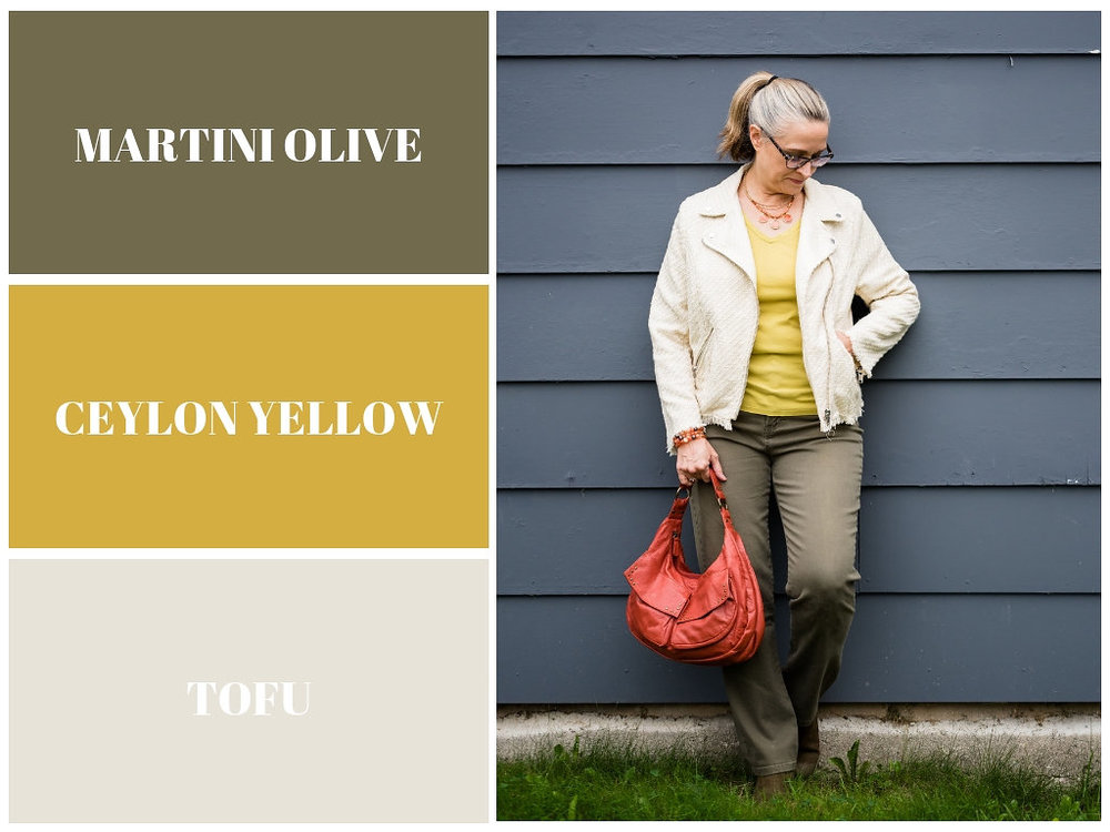 Pantone Fall 2018 - martini olive, ceylon yellow and tofu