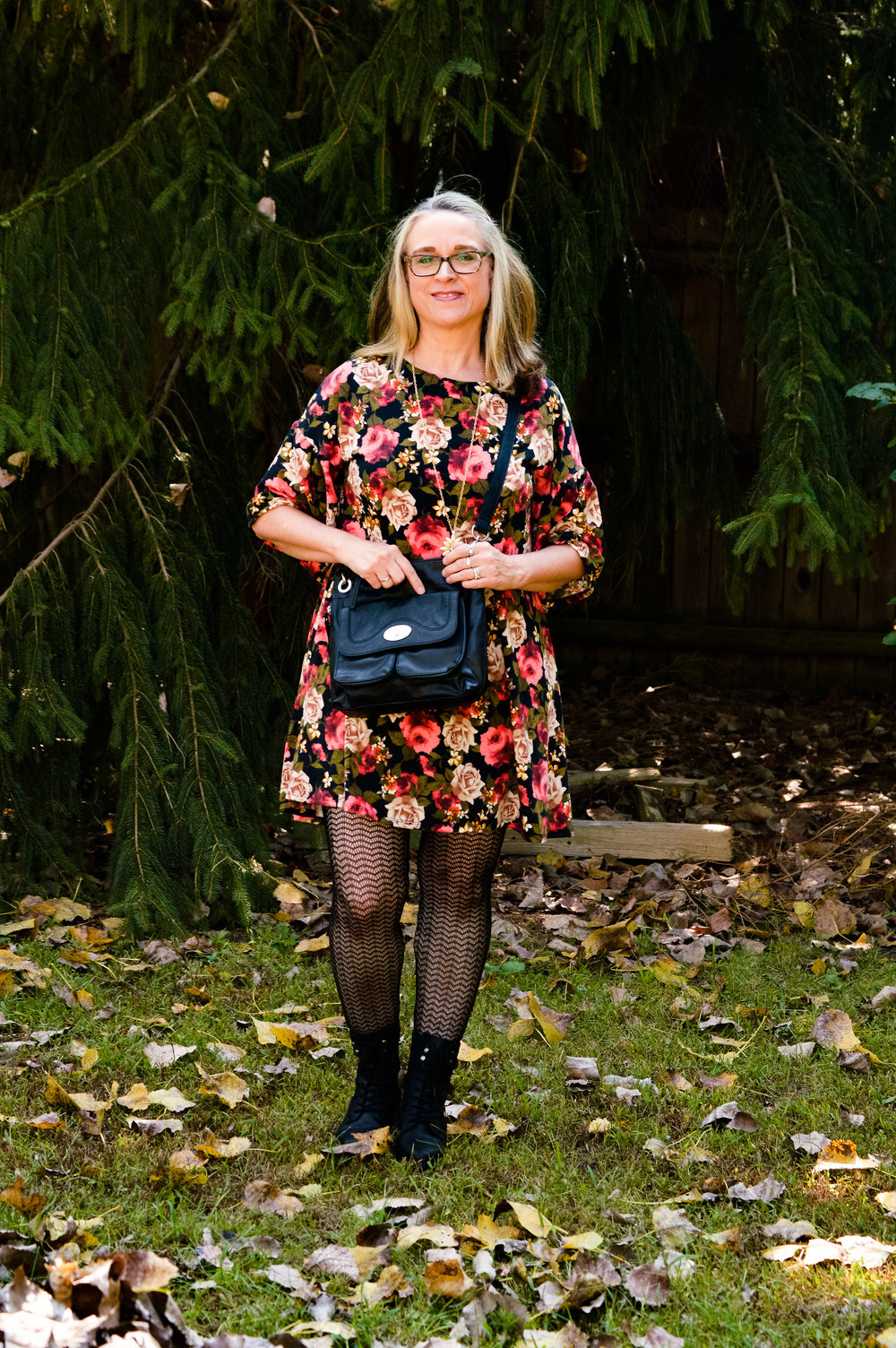 Outside the Box - floral dress with combat boots