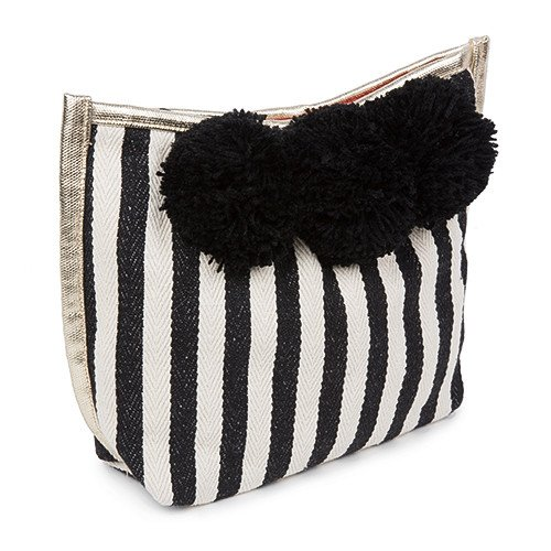 Makeup Pom Pom - Black Stripe with Black Pom Poms.jpg