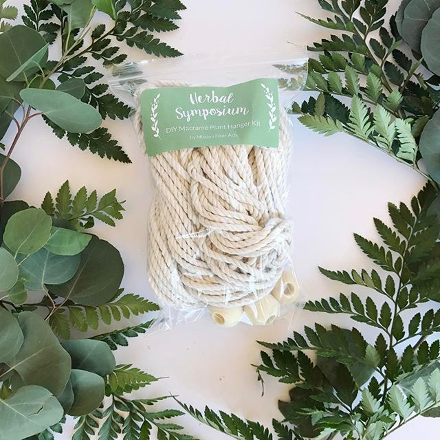 Just made a whole bunch of DIY Macramé Plant Hanger kits for the Herbal Symposium! 🌿