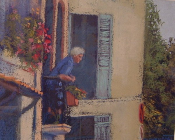 Watching the World Go By, pastel (sold)