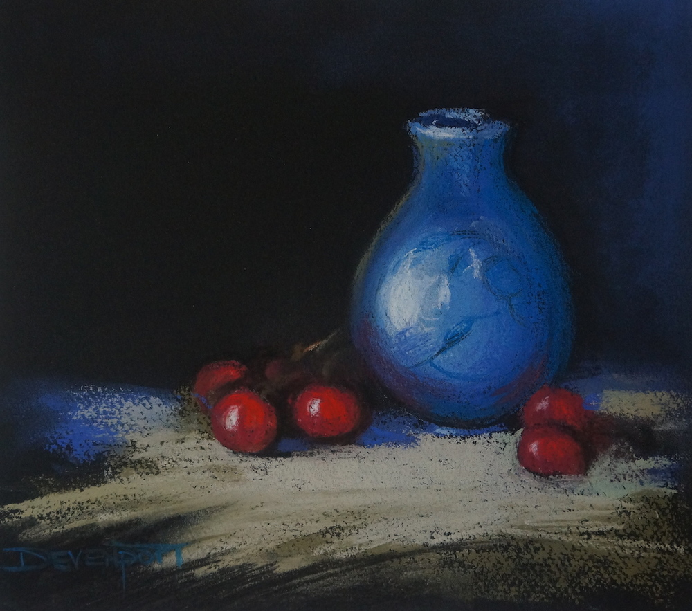 Blue vase with Cherries, pastel (sold)