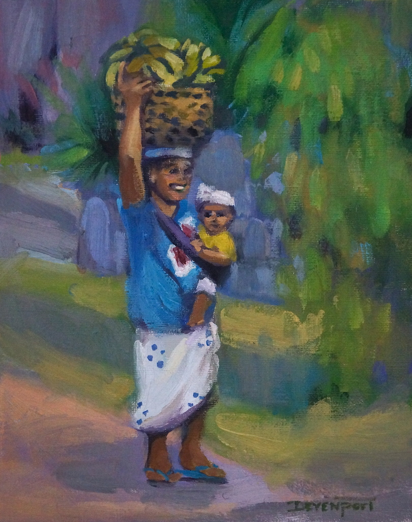 "Just Another Day - in Bali, 8""x10"" oil"