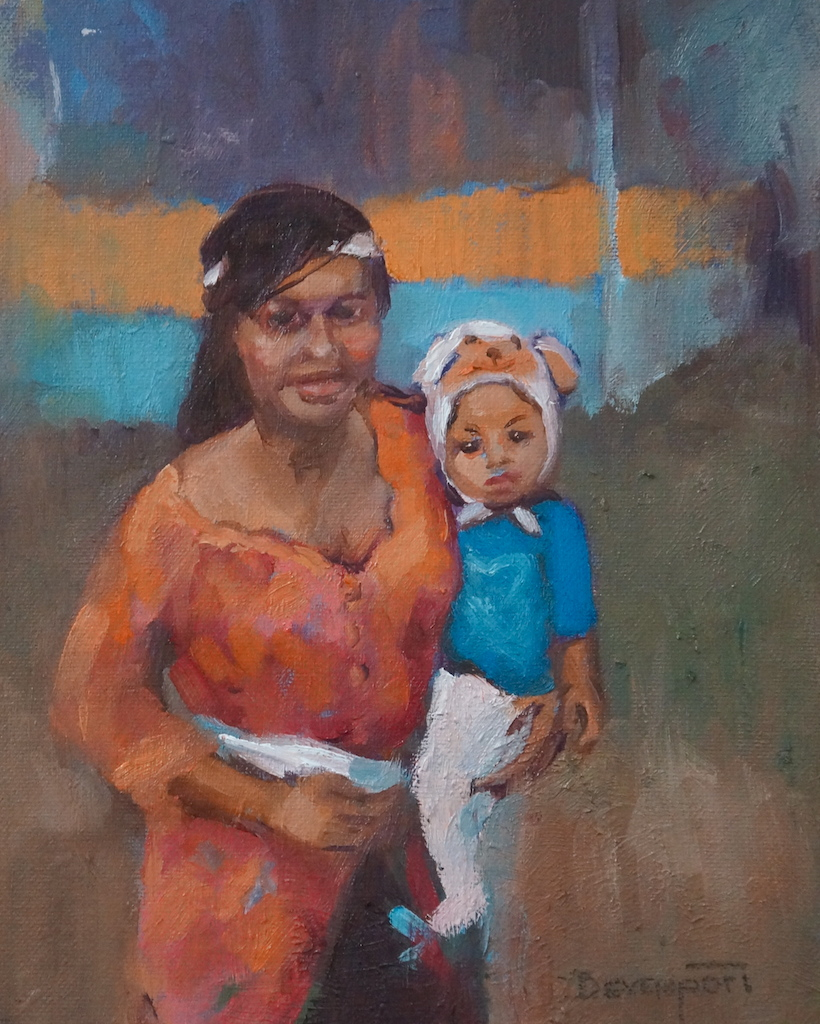 "Bali - Then and Now, 8"" x 10"", oil"
