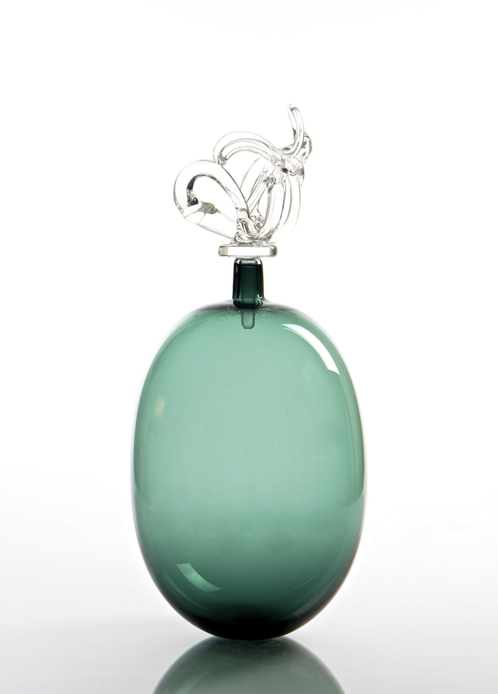 "TEAL ELONGATED ORB BOTTLE 8.5""D x 18""H"